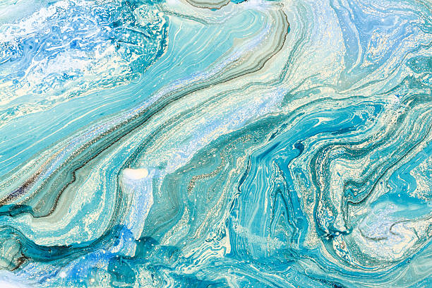 Creative background with abstract oil painted waves handmade surface. - foto de stock