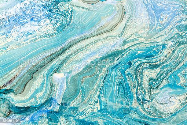 Photo of Creative background with abstract oil painted waves handmade surface.