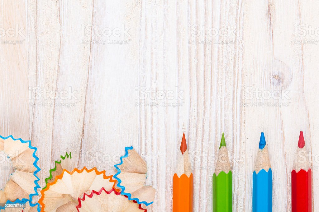 Creative background with pencils and pencil shavings stock photo