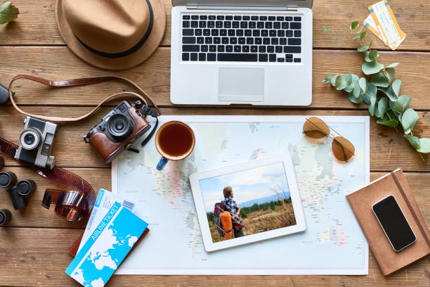 Creative background with travel attributes stock photo