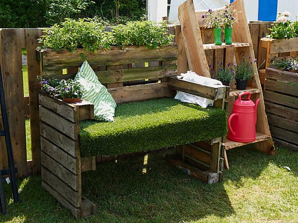 Creative bench in a garden stock photo