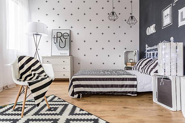 Creative black and white bedroom stock photo