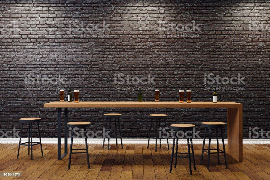 Creative black bar interior stock photo