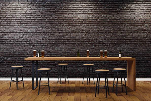 Creative black bar interior stock photo