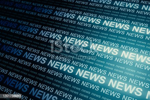 Creative blue news header backdrop. Information and breaking concept. 3D Rendering