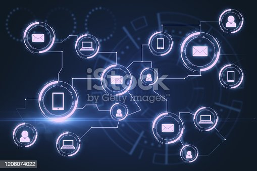 1177116437 istock photo Creative blue social media network interface 1206074022