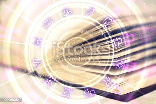 istock Creative book with zodiac wheel 1090600842