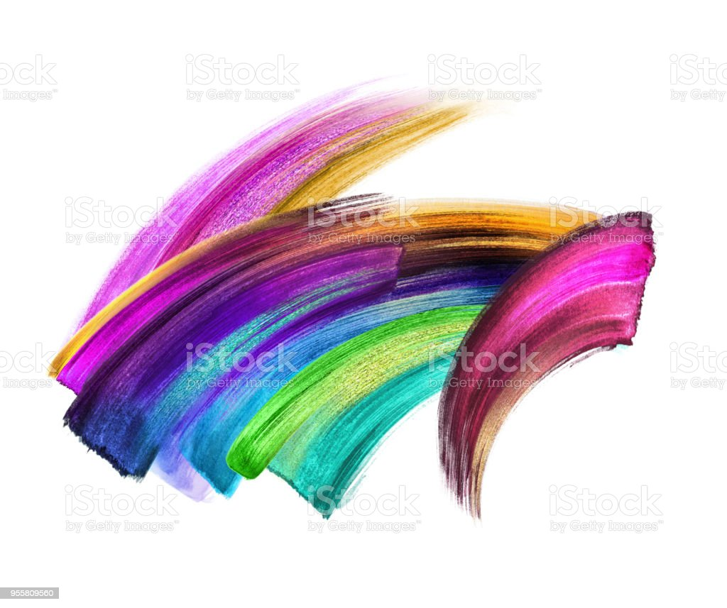 creative brush stroke clip art isolated on white background, dynamic neon watercolor smear, multicolor paint texture, green blue violet gold pink acrylics, grunge, rainbow stock photo