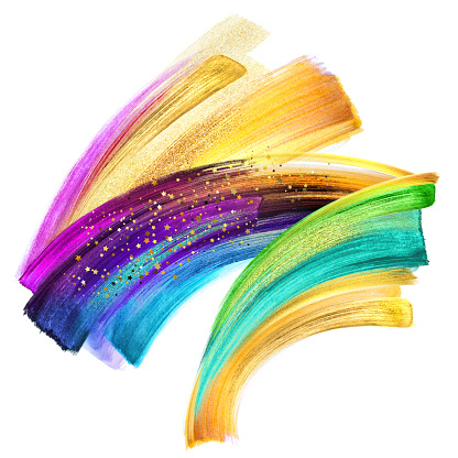 955809560 istock photo creative brush stroke clip art isolated on white background, dynamic watercolor smear, multicolor neon paint texture, green blue violet gold pink acrylics, grunge, rainbow 955809672