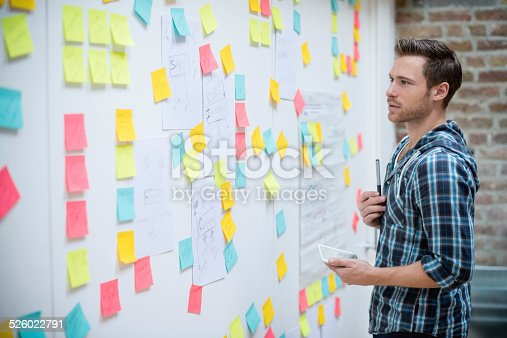 Creative business man organizing ideas and posting them