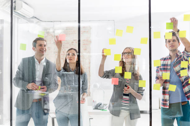 Creative business people in office stock photo