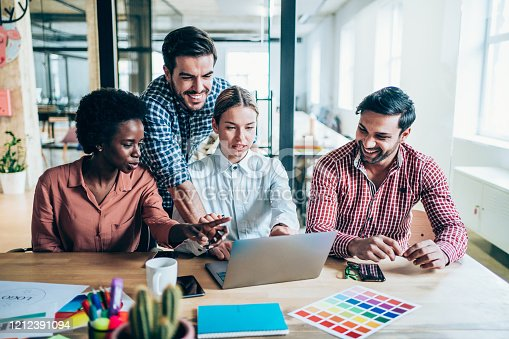 842214506 istock photo Creative business people working on business project in office. 1212391094