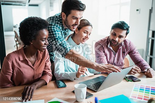 842214506 istock photo Creative business people working on business project in office. 1214358290