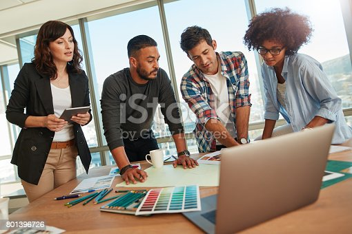 848290020istockphoto Creative business team working on new project 801396726
