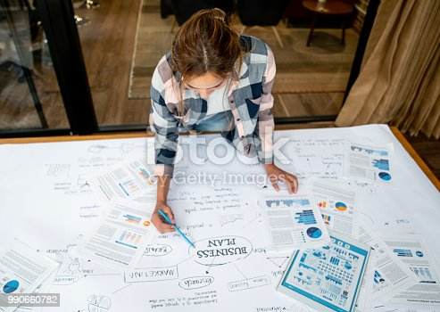 Portrait of a creative business woman drawing a business plan at the office on a placard - lifestyle concepts. **DESIGN ON SCREEN WAS MADE FROM SCRATCH BY US**