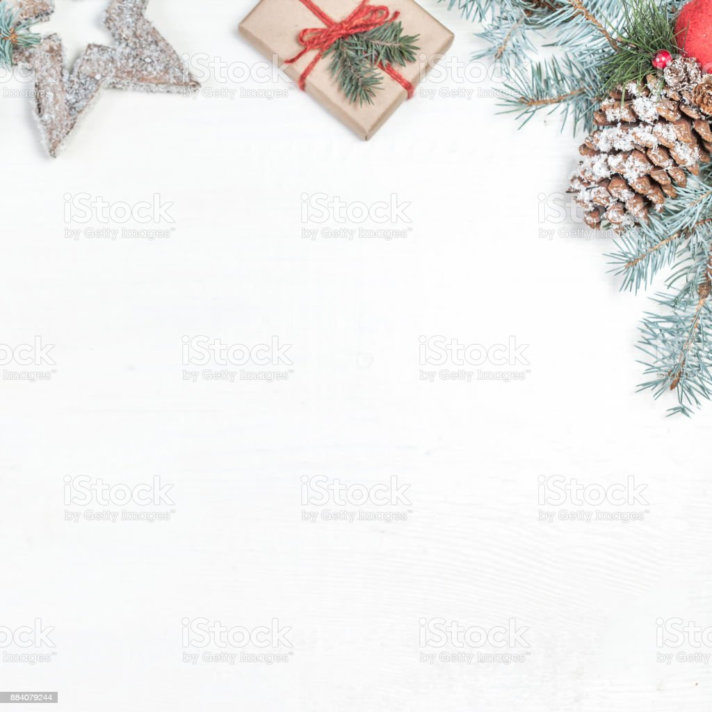 Holiday Christmas Background.Creative Christmas Background Layout With Holiday Decorations And Copyspace Flat Lay Christmas Festive Conceptn Stock Photo Download Image Now