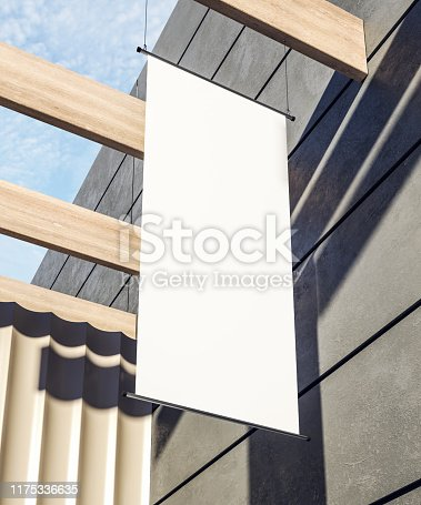 Creative clean rectangular white stopper poster on building exterior with shadows and sunlight. Advertisement and public concept. Mock up, 3D Rendering