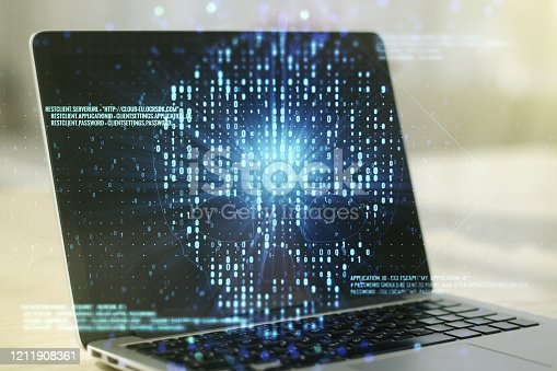 1008108222 istock photo Creative code skull sketch on modern laptop background, theft of personal data and malware concept. Multiexposure 1211908361