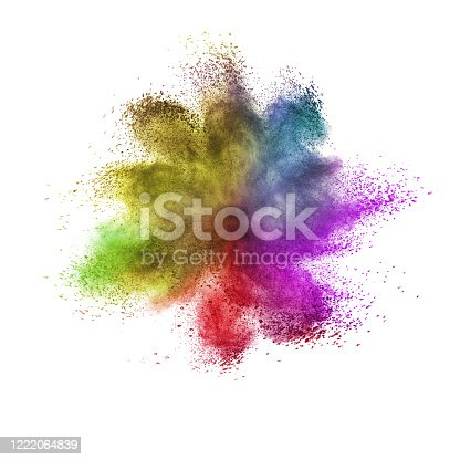 874001974 istock photo Creative colorful dust or powder splash on a white background. 1222064839