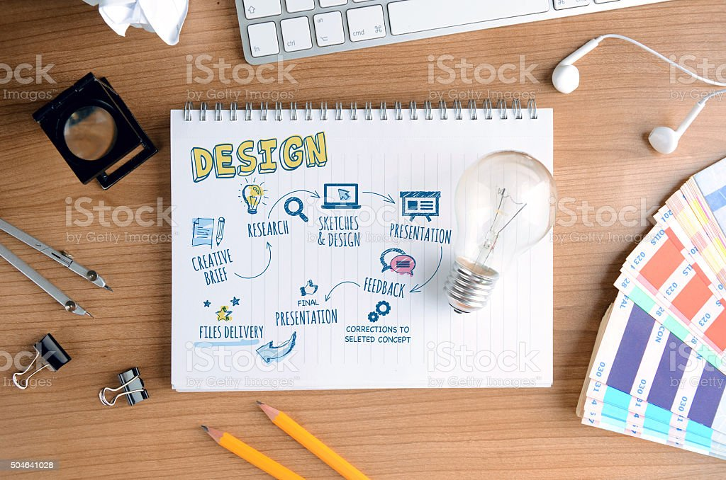 Creative Concept for Design Process, for Designers and Developers stock photo