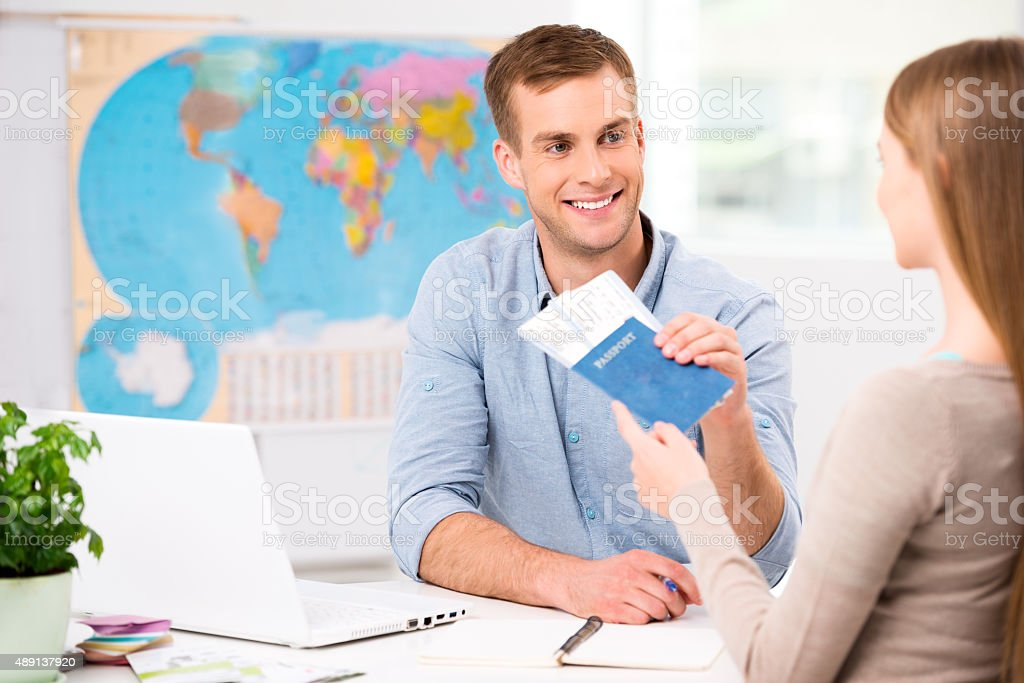 Creative concept for travel agency office stock photo