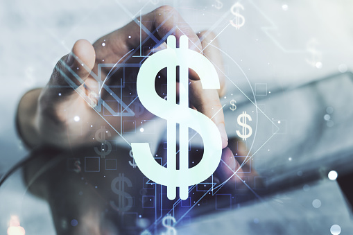 Creative concept of USD symbols illustration and finger clicks on a digital tablet on background. Trading and currency concept. Multiexposure