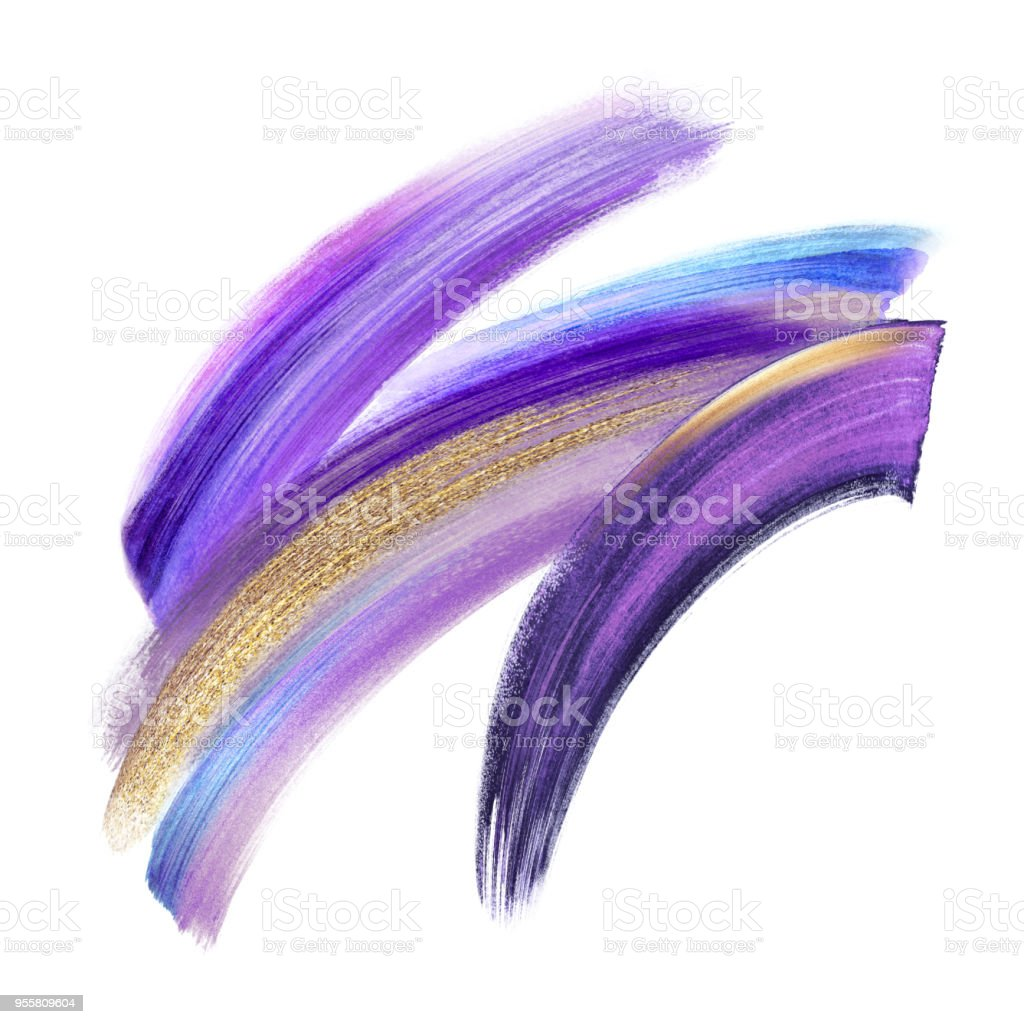 creative cosmetics brush stroke clip art isolated on white background, dynamic watercolor smear, golden yellow violet purple blue paint texture, acrylics, grunge, gold glitter, shimmer, make up, cosmetics stock photo