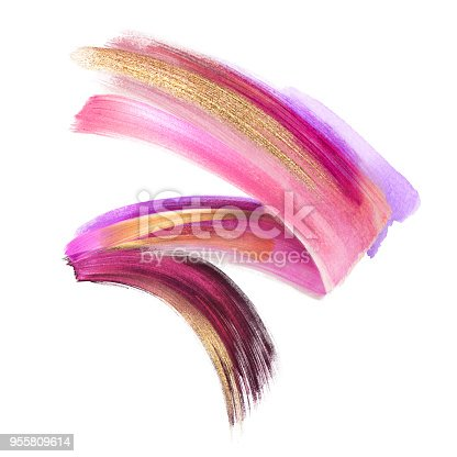 istock creative cosmetics brush stroke clip art isolated on white background, dynamic watercolor smear, golden yellow blush pink paint texture, acrylics, grunge, glitter, shimmer, make up, cosmetics 955809614