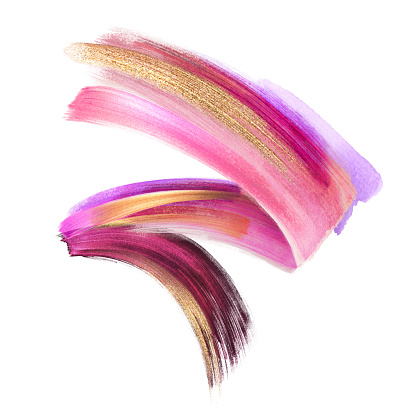 955809560 istock photo creative cosmetics brush stroke clip art isolated on white background, dynamic watercolor smear, golden yellow blush pink paint texture, acrylics, grunge, glitter, shimmer, make up, cosmetics 955809614