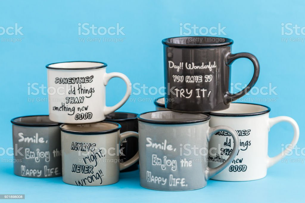 Creative Cute Coffee Mugs On Blue Background Stock Photo Download Image Now Istock