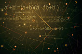 Creative glowing dark geometric background with mathematical formulas. 3D Rendering