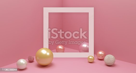 istock Creative design background, room in pastel colors, beautiful accessories for design. Pink, white and golden balls, different textures, frame with space for text and pink studio room. 1136239344