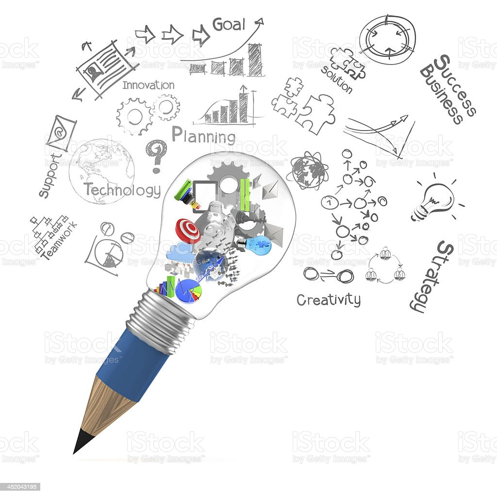 creative design business as pencil lightbulb 3d creative design business as pencil lightbulb 3d as business design concept Book Stock Photo