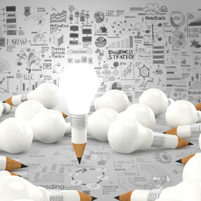 Creative Design Business As Pencil Lightbulb 3d Stock Photo - Download Image Now