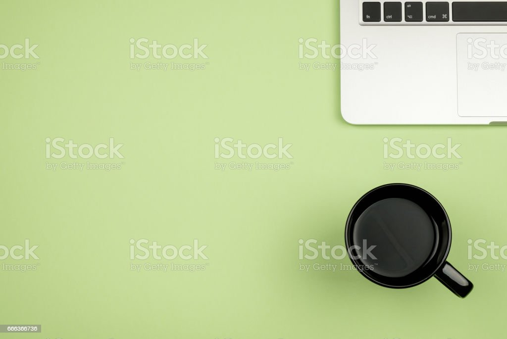Creative design mockup set of workspace desk with cup of coffee and notebook. Copy space colored background stock photo