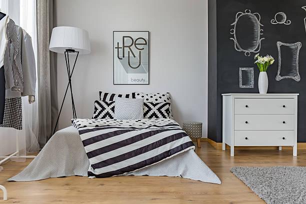 creative design of bedroom interior - tafel schlafzimmer stock-fotos und bilder