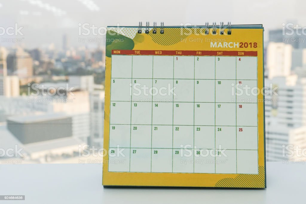 creative design of March 2018 calendar for meeting reminder in office stock photo