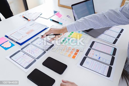 Creative designer hands sketching of screens for mobile responsive website development with UI/UX. Developing wireframe sketch layout design mockup on smartphone screen.