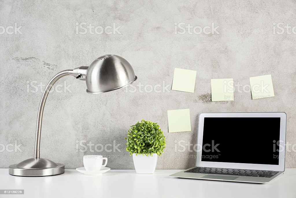 Creative designer workplace front stock photo