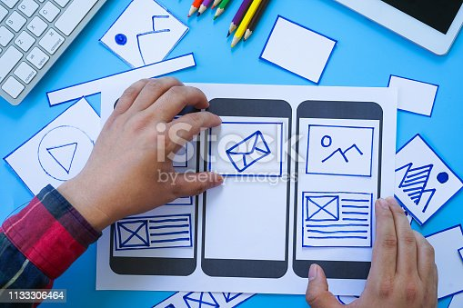 1182469817 istock photo Creative designers designing wireframe sketch layout design mockup on smartphone screen. User experience concept. 1133306464