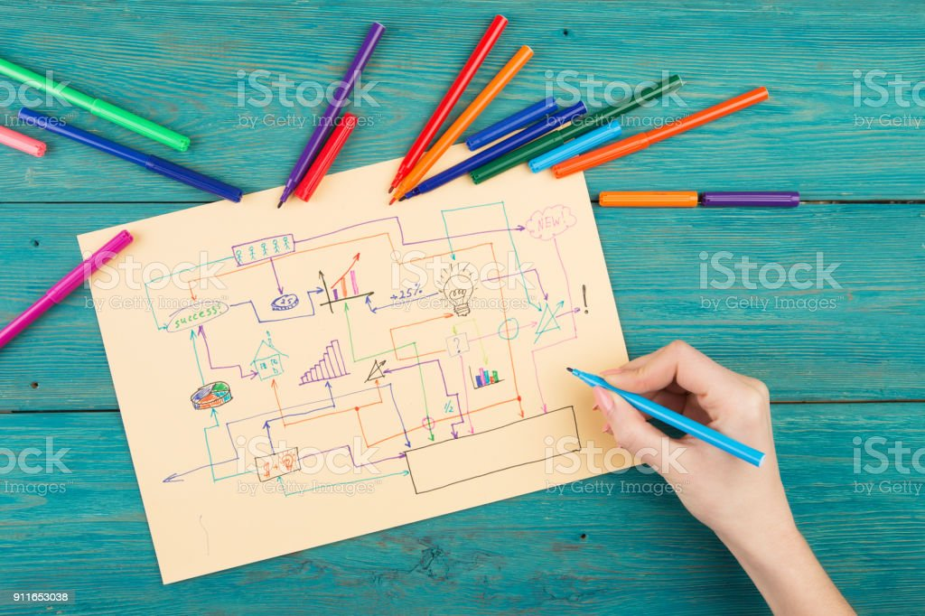 creative diagram drawn with colored pens stock photo