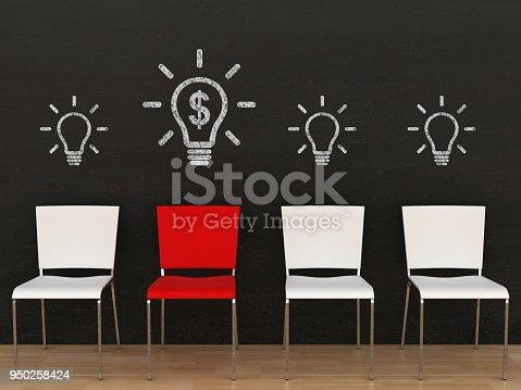 istock Creative different idea light bulb office chair blackboard 950258424