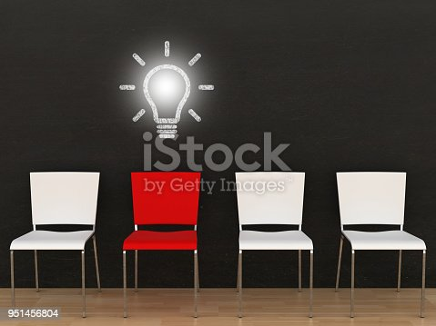istock Creative different idea light bulb office chair blackboard 951456804