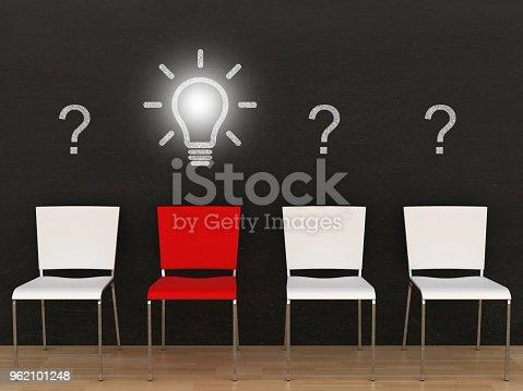 istock Creative different idea light bulb question answer blackboard 962101248