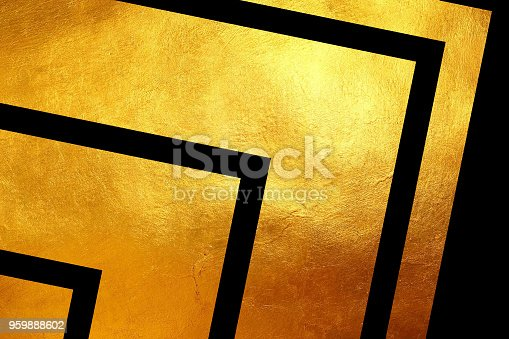 istock Creative digital abstract shiny golden texture on black background. 959888602