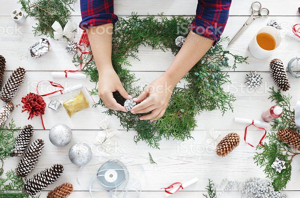Creative diy hobby. Handmade craft christmas decoration, ornament and garland zbiór zdjęć royalty-free