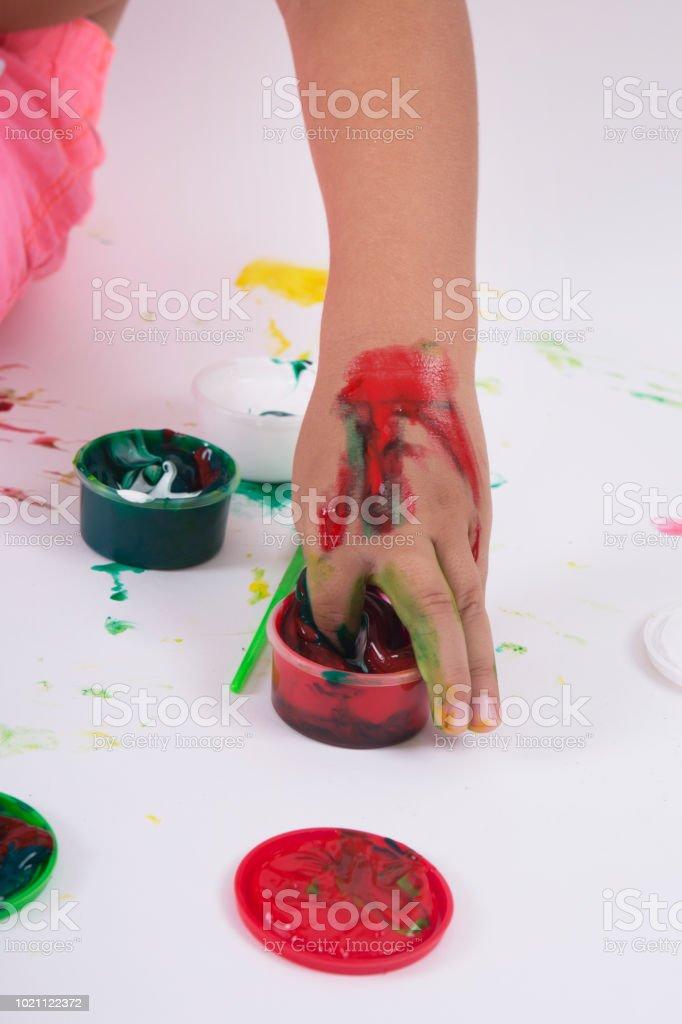 Creative education ,finger painting. stock photo