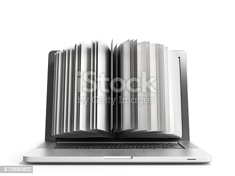 istock creative E-learning Concept Book and Laptop 3d render on white 615890832