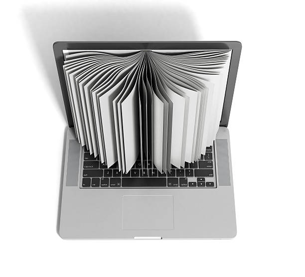 creative E-learning Concept Book and Laptop 3d render on white stock photo