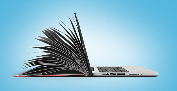 creative e-learning concept book and laptop 3d render - illustration studium stock-fotos und bilder